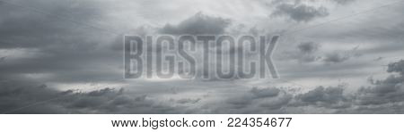 Panoranic gray overcast sky. Beautiful cloudscape over horizon, sky. poster