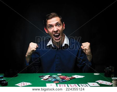 Man Is Playing Poker. Emotional Fail In Game, Game Over For Card Player, Man Very Angry With Foolish