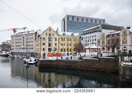 Alesund City Center, Art Nouveau Architecture. Winter Landscape, Norway