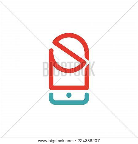 Forbodden sign on smartphone touchscreen vector illustration. Not allowed icon on mobile phone. Red empty ban sign on white background. Prohibition symbol on cellphone.