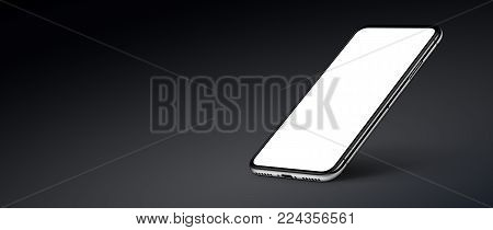 Perspective smartphone like iPhone X mockup on dark background. Isometric smartphone mockup with shadow. Smartphone banner with copy space. 3D illustration.