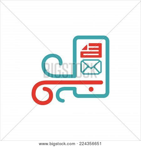 Vector illustration of mail arrow icon on smartphone screen. Incoming mail icon. Red and blue pc icon with e-mail symbol on phone white background. Message icon on mobile phone laptop.