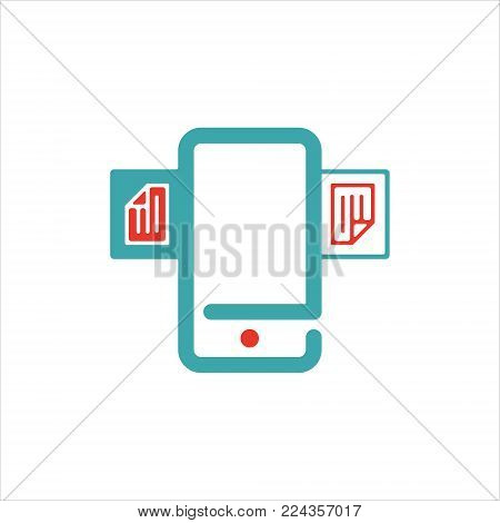 Document files icon on smartphone screen vector illustration. File icon on mobile phone touch screen. Open document icon. File icon on blue cell phone screen.