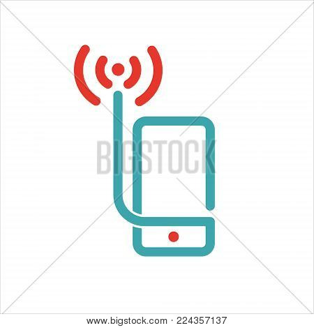 Wireless network icon on smartphone screen vector illustration. Vector illustration of mobile phone and wi-fi icon. Wlan icon in two colors. Red and blue wi-fi icon.