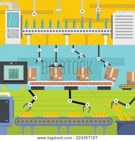 Production line factory conveyor banner horizontal concept set. Flat illustration of 3 production line factory conveyor vector banner horizontal concepts for web