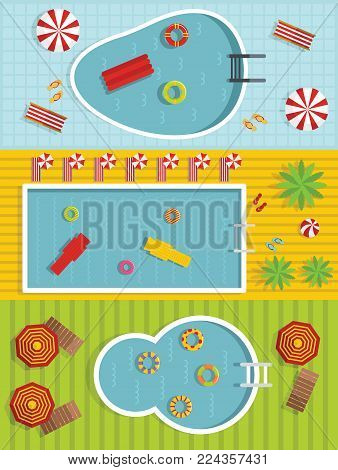 Summer pool party banner horizontal concept set. Flat illustration of 3 summer pool party vector banner horizontal concepts for web