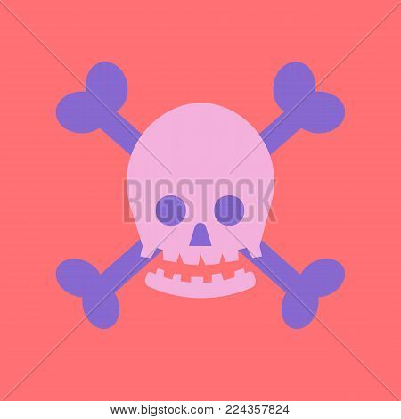 flat skull cross with bone icon vector.Cute human bone with pastel background.Toxic concept