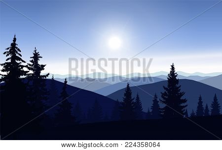 Silhouette of mountains and coniferous trees. Blue shades.