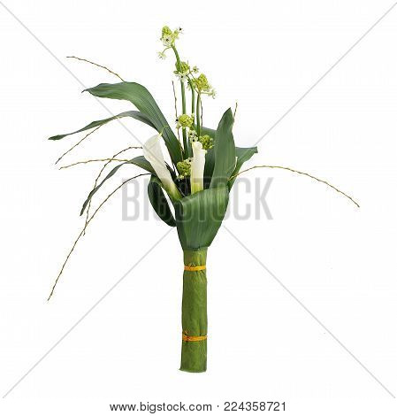 Bouquet flower calla in a style isolated. Full name of the plant: calla. Photo wild flower on white background.