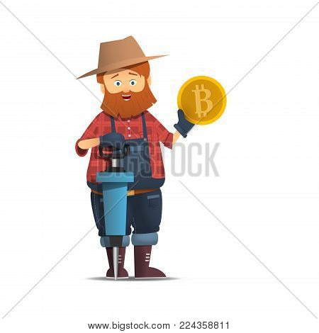 Miner with jackhammer. Prospector holding a gold coin. Gold bitcoin Cartoon character with the bump holding a gold coin