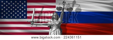 Cover about Law. Statue of god of justice Themis with Flags of USA and Russia background. Original Statue of Justice. Femida, with scale, symbol of justice with USA flag 3d rendering.