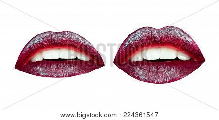 Lip makeup with professional brush. Bright rainbow woman's lips. Gloss lips, make-up and cosmetics.
