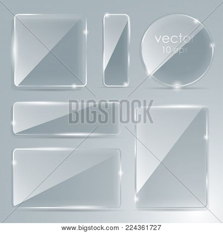 Set Of Transparent Glass Cubes In Different Angles. Geometric Surfac. Rotate The Cube. Vector Illust