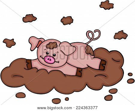 Scalable vectorial representing a little piggy playing in the mud, illustration isolated on white background.