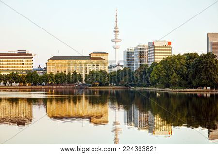 Hamburg Cityscape Overview With The Heinrich-hertz-turm Communication Tower