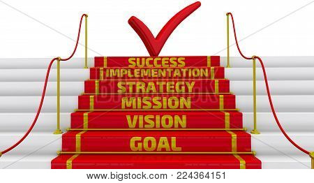 The inscription: goal, vision, mission, strategy, implementation, success - on the steps of stairs with a red carpet and fencing posts. 3D Illustration