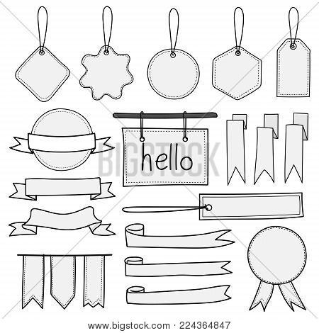 Set Of Hand Drawn Banners Labels Tags And Ribbons. Hand Drawn Doodle Isolated Elements On White Background.