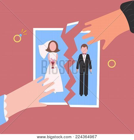 Divorcement. Man and woman hand tear apart wedding photo. Break up of relationship. End of family life. Diamond engagement rings. Disengagement of young former wife and husband. Divorce concept