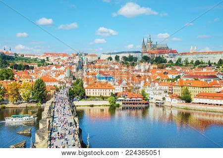 Prague, Czech Republic - August 28: Aerial Overview Of Prague With St Vitus Cathedral On August 28,