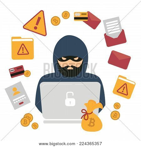Hacker thief with notebook and bitcoin cryptocurrency. Web security. Cyber attack, using phishing sites and blackmail. Files, bag, alert, envelope, email. Electronic robbery