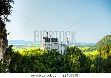 Neuschwanstein Castle In Bavaria, Germany On A Sunny Day