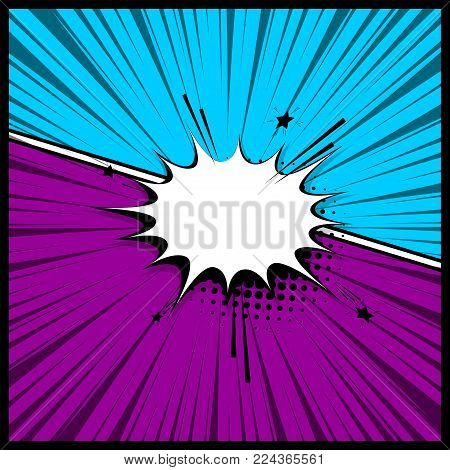 Pop art colorful backdrop mock up. Vector illustration halftone dot chat mockup versus comic text. Silhouette boom explosion. Comics book empty colored template background. Speech bubble box balloon.