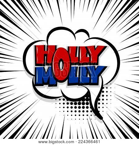 holly molly Comic text speech bubble balloon. Pop art style wow banner message. Comics book font sound phrase template. Halftone strip vector illustration funny colored design.