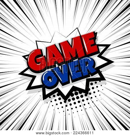 game over, play Comic text speech bubble balloon. Pop art style wow banner message. Comics book font sound phrase template. Halftone strip vector illustration funny colored design.