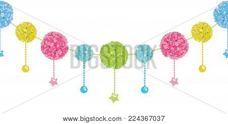 Vector Fun Set of Hanging Pastel Colorful Birthday Party Paper Pom Poms and Stars Horizontal Seamless Repeat Border Pattern. Great for handmade cards, invitations, wallpaper, packaging, nursery designs. Party decor.
