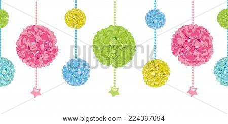 Vector Cute Set of Hanging Pastel Colorful Birthday Party Paper Pom Poms and Stars Horizontal Seamless Repeat Border Pattern. Great for handmade cards, invitations, wallpaper, packaging, nursery designs. Party decor.