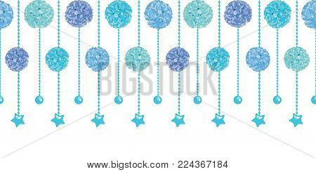 Vector Set of Fun Blue Baby Boy Birthday Party Paper Pom Poms and Beads Set Horizontal Seamless Repeat Border Pattern. Great for handmade cards, invitations, wallpaper, packaging, nursery designs. Party decor.