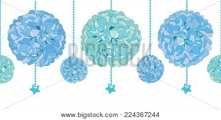 Vector Set of Hanging Blue Baby Boy Birthday Party Paper Pom Poms and Beads Set Horizontal Seamless Repeat Border Pattern. Great for handmade cards, invitations, wallpaper, packaging, nursery designs. Party decor.