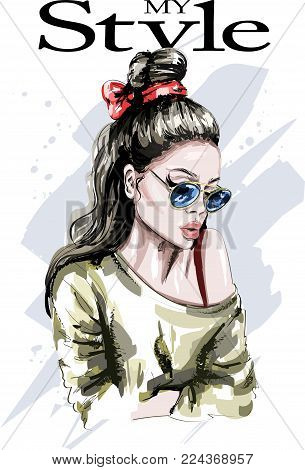 Hand drawn beautiful woman portrait. Fashion woman. Stylish lady with long hair. Cute girl in sunglasses with fashion hairstyle. Sketch.