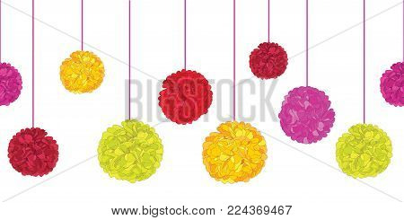 Vector Fun Colorful Birthday Party Paper Pom Poms Set On Strings Horizontal Seamless Repeat Border Pattern. Great for handmade cards, invitations, wallpaper. Party decor.