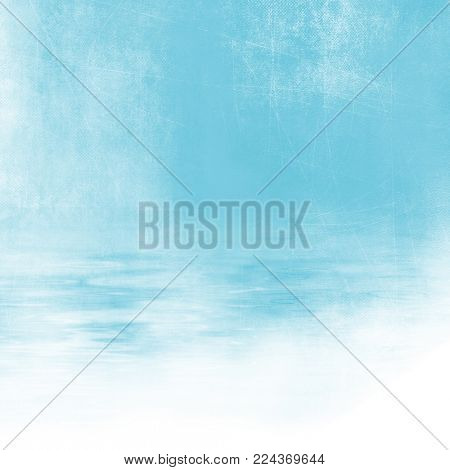 Retro beach background - abstract vacation concept with blue sky and water texture fading to white