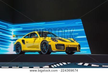 FRANKFURT, GERMANY - SEP 17, 2017: Porsche 911 GT2 RS sports car at at International Motor Show