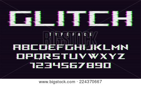 Vector distorted glitch style font design, alphabet, typeface, typography, letters and numbers. Swatch color control.