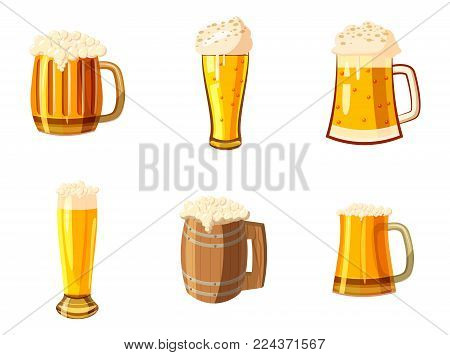 Glass of beer icon set. Cartoon set of glass of beer vector icons for web design isolated on white background
