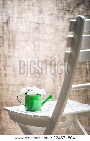 Daisies bouquet on a chair in vintage style - Bouquet of white daisies in a green watering can on a white wooden chair in front of a window with jute curtains, in a rustic style.