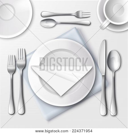 Vector illustration of table setting in restaurant with white plates and silverware. Top view