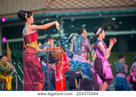 Bangkok Thailand - January 17 , 2015 : Unidentified Dancer Is Northeastern Traditional Thai Dancing