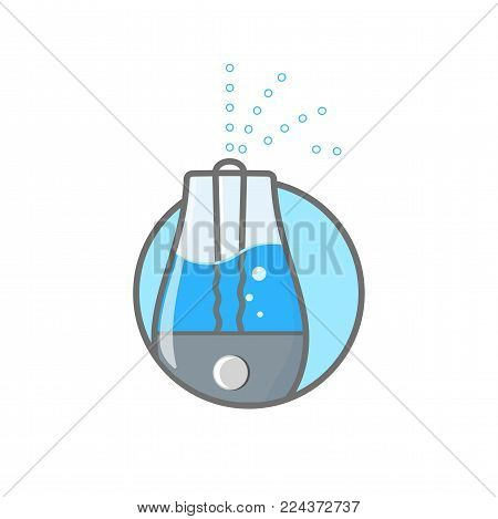Humidifier air outline icon vector illustration. Logo of climatic equipment for health