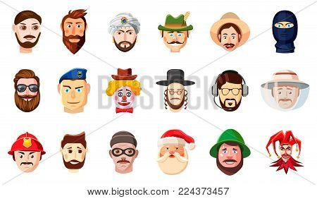 Man head icon set. Cartoon set of man head vector icons for web design isolated on white background