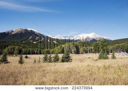 Picture of the area around Nakiska ski resort in Kananaskis Country, Alberta,Canada, taken in Fall.
