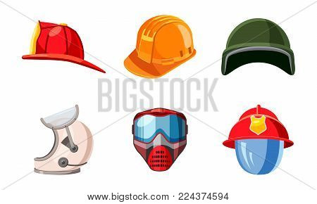 Helmet icon set. Cartoon set of helmet vector icons for web design isolated on white background