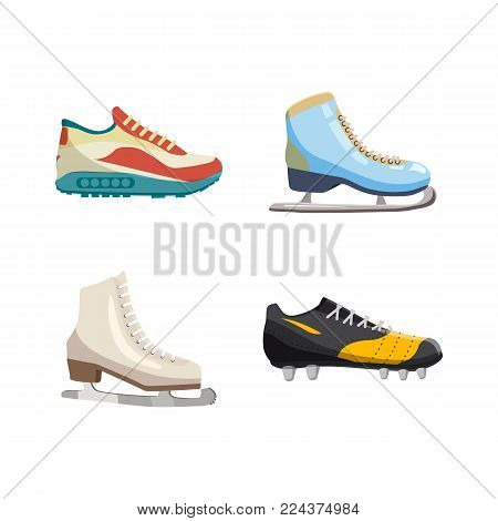 Sport shoes icon set. Cartoon set of sport shoes vector icons for web design isolated on white background