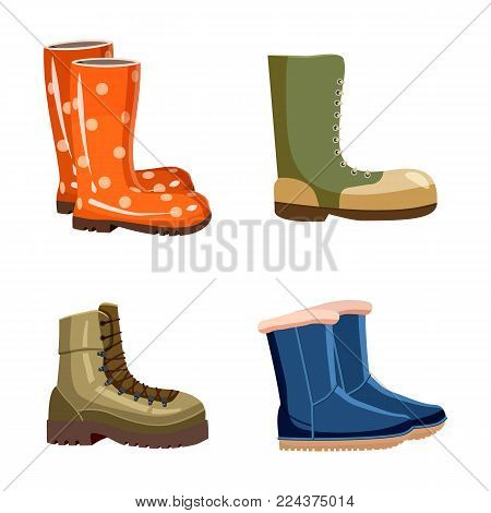 Boots icon set. Cartoon set of boots vector icons for web design isolated on white background
