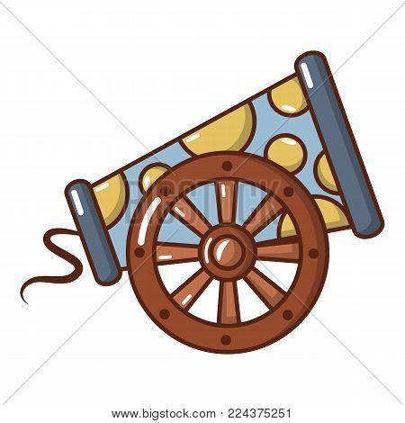 Cast-iron cannon icon. Cartoon illustration of cast-iron cannon vector icon for web.