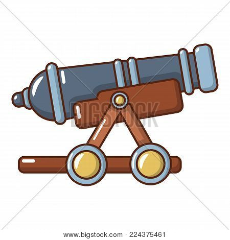 Enemy cannon icon. Cartoon illustration of enemy cannon vector icon for web. poster