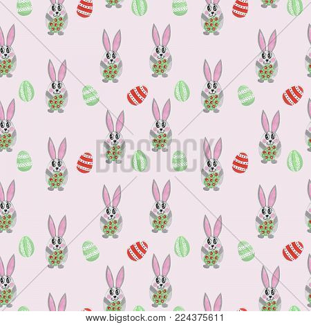 Hand paint watercolor Easter seamless pattern with cute bunny. Seamless pattern with cute rabbit and Easter egg. Watercolor pattern.
